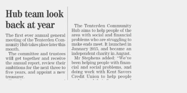 Tenterden Community Hub look back at year